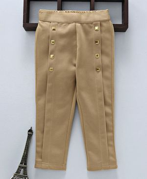 Button Noses Full Length Solid Trouser With Studs - Fawn