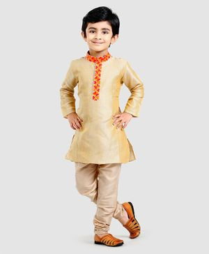 Exclusive from Jaipur Kurta & Pyjama Set - Golden & Beige