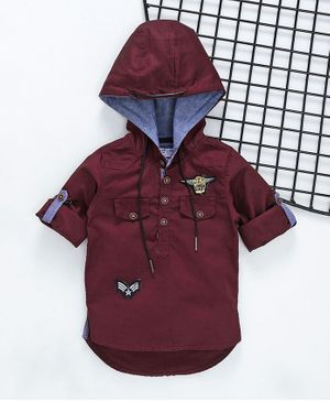 ZY & UP Solid Full Sleeves Hooded Shirt - Maroon