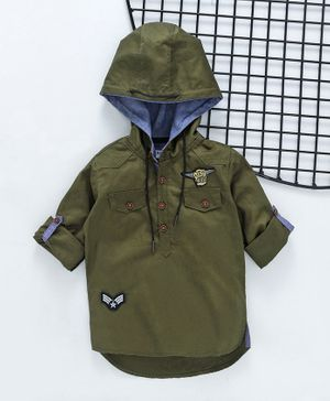 ZY & UP Solid Full Sleeves Hooded Shirt - Green