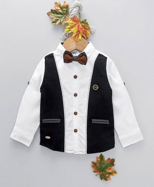 ZY & UP Solid Full Sleeves Shirt With Detachable Bow - White & Black