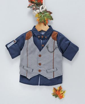 ZY & UP Full Sleeves Shirt With Checked Mock Waistcoat & Bow - Navy
