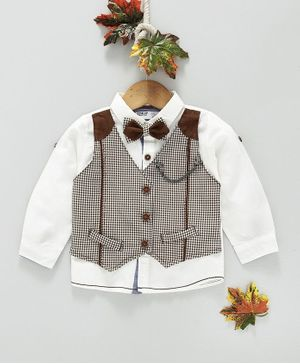 ZY & UP Full Sleeves Shirt With Checked Mock Waistcoat & Bow - White