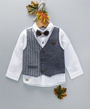 ZY & UP Full Sleeves Shirt With Mock Waistcoat & Bow - Dark Grey