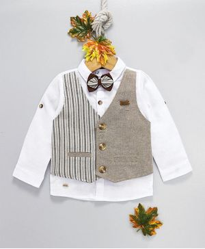 ZY & UP Full Sleeves Shirt With Mock Waistcoat & Bow - Grey