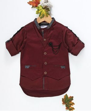 ZY & UP Solid Full Sleeves Shirt With Attached Waistcoat - Maroon