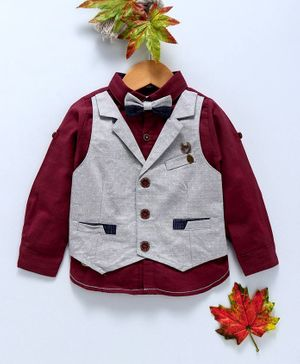 ZY & UP Solid Full Sleeves Shirt With Attached Waistcoat & Bow - Maroon