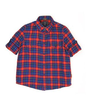 Indian Terrain Full Sleeves Checks Shirt - Red Blue