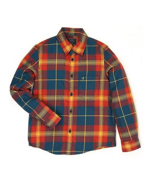 Indian Terrain Full Sleeves Checks Shirt - Orange Blue