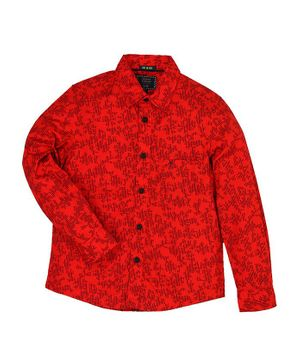 Indian Terrain Full Sleeves Printed Cotton Shirt - Red