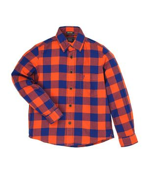 Indian Terrain Full Sleeves Checked Cotton Shirt - Orange