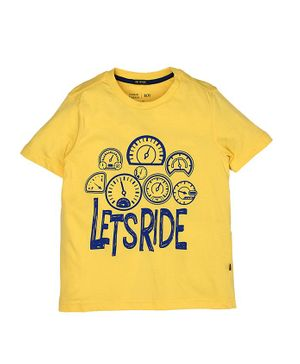 Indian Terrain Half Sleeves Tee Lets Ride Print - Light Yellow