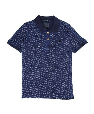 Indian Terrain Half Sleeves Tee Boat Print - Navy Blue