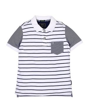 Indian Terrain Striped Half Sleeves Tee - White