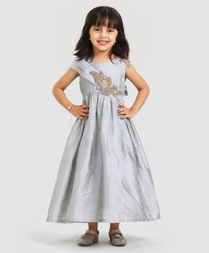 Saka Designs Full Length Pleated Ethnic Dress Embroidered Bodice - Grey
