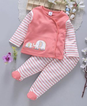 ToffyHouse Full Sleeves Night Suit Stripes & Elephant Patch - Coral
