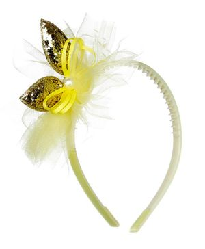 Pikaboo Shiny Butterfly Studded Hair Band - Yellow