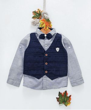 ZY & UP Full Sleeves Striped Shirt With Waistcoat & Detachable Bow - Blue