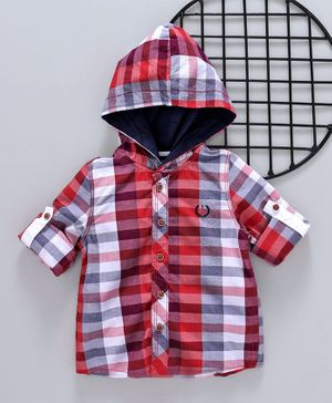 ZY & UP Hooded Striped Full Sleeves Shirt - Red