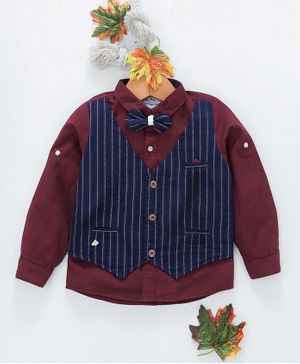 ZY & UP Full Sleeves Shirt With Striped Waistcoat & Bow - Maroon