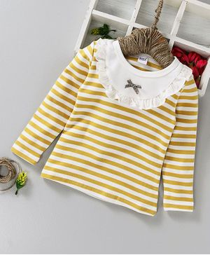 Menga Wa Striped Frilly Full Sleeves Top - Yellow