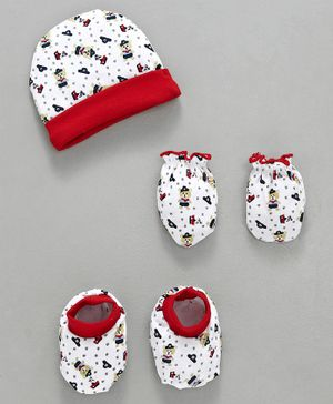Babyhug Cap Mittens & Booties Set Bear Print - Red & White