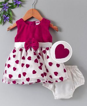 Babyhug Party Wear Sleeveless Frock With Bow Applique & Bloomer - Pink