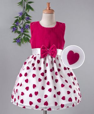 Babyhug Party Wear Sleeveless Printed Frock With Bow Applique - Pink