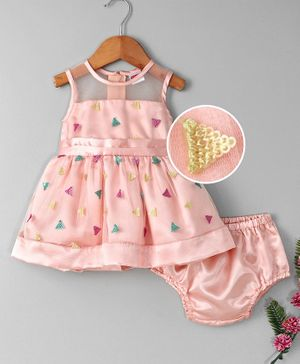 Babyhug Party Wear Sleeveless Embroidered Frock With Bloomer - Peach
