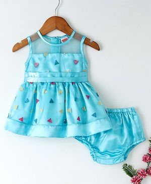 Babyhug Party Wear Sleeveless Embroidered Frock With Bloomer - Blue