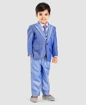 Robo Fry 4 Piece Full Sleeves Party Wear Suit With Tie - Blue