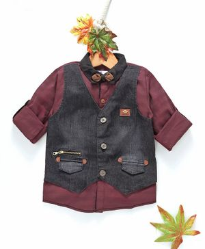 ZY & UP Full Sleeves Shirt With Attached Denim Waistcoat - Maroon