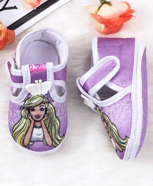 Barbie Character Printed Booties Butterfly Applique - Purple