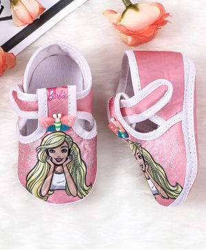 Barbie Character Printed Booties Butterfly Applique - Pink