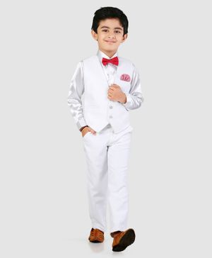 Robo Fry 3 Piece Full Sleeves Party Wear Suit With Bowtie - White