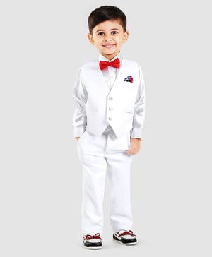Robo Fry Full Sleeves Shirt With Bow Trouser & Waistcoat - White