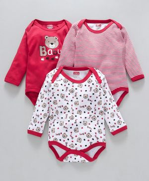 Babyhug Full Sleeves Cotton Onesies Baby & Stripes Print Pack of 3 - Red White
