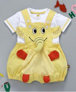 Wow Clothes Dungaree With Half Sleeves T-Shirt Elephant Design - Light Yellow White