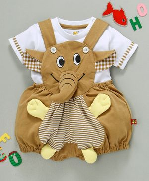 Wow Clothes Dungaree With Half Sleeves T-Shirt Elephant Design - Beige White