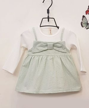 Aww Hunnie Full Sleeves Frock With Bow Applique - Grey