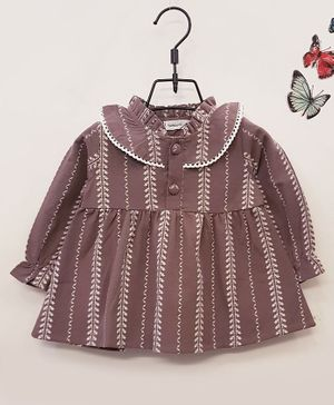 Aww Hunnie Embroidered Striped Dress - Brown