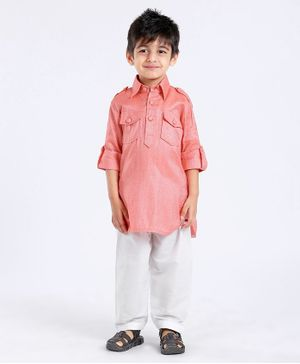 Exclusive from Jaipur Kurta & Pajama Set - Peach