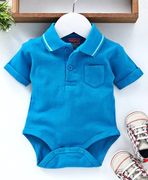 Babyhug Half Sleeves Polo Neck Cotton Onesie - Blue