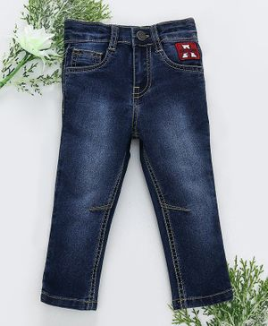 Babyhug Full Length Jeans With Adjustable Elasticated Waist Awesome Patch - Dark Blue