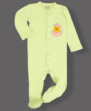 Grandma's Full Sleeves Footed Sleepsuit Chicken Applique - Pista Green