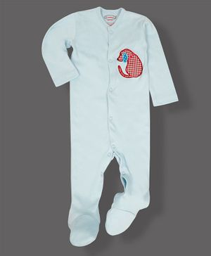 Grandma's Full Sleeves Footed Sleepsuit Dog Applique - Sky Blue
