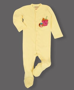 Grandma's Full Sleeves Footed Sleepsuit Sand Bucket & Ball Patch - Yellow