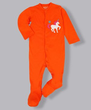 Grandma's Full Sleeves Footed Sleepsuit Unicorn Applique - Orange