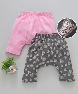 Earth Conscious Half Length Heart Printed Pack Of Two Diaper Pants - Pink & Grey