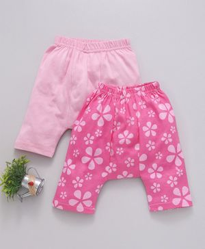 Earth Conscious Half Length Flower Printed Pack Of Two Diaper Pants - Pink